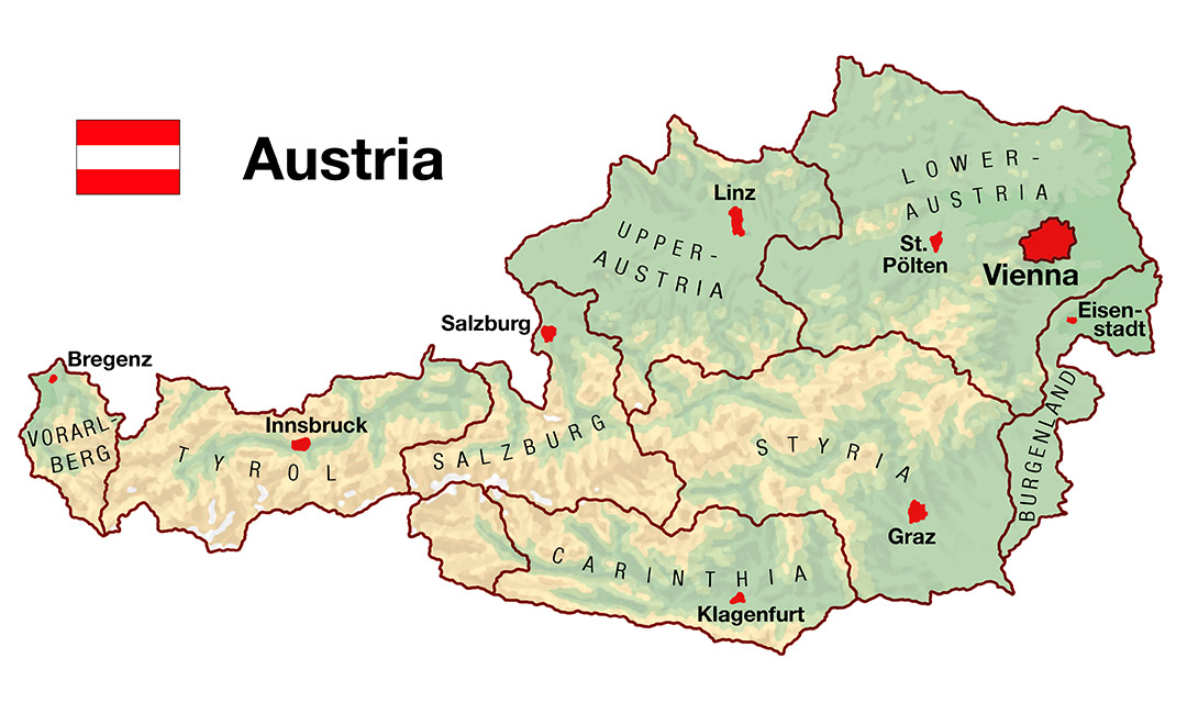 Tourism In Austria Austrian Consulate SA NT - Klagenfurt austria map